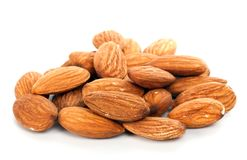 Almond nuts. Snack almond nuts isolated on a white background Stock Photography