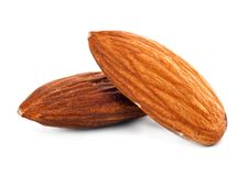 Almond nuts. Snack almond nuts isolated on a white background Stock Photos