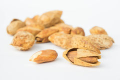 Almond nuts to stay healthy for the body. almond on white backgr Stock Photo