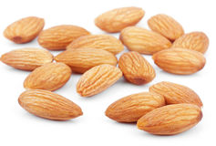 Almond nuts on white royalty free stock images