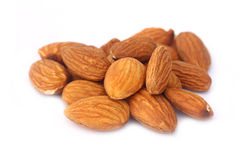 Almond nuts  on white background close up Royalty Free Stock Images