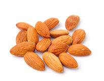 Almond nuts  on white background Stock Images