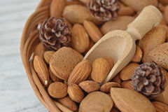 Almond nuts. In a wicker basket Royalty Free Stock Image