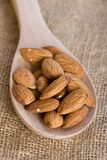Almond Nuts On Wooden Spoon Royalty Free Stock Photo