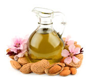 Almond oil and almond nuts Royalty Free Stock Image