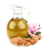 Almond oil and almond nuts Royalty Free Stock Images