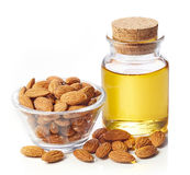 Almond oil and almonds royalty free stock photo