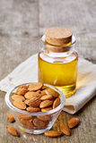 Almond oil and almonds Royalty Free Stock Images