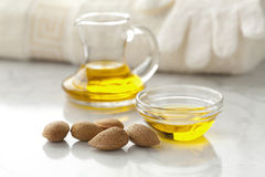 Almond oil and almonds Royalty Free Stock Photography