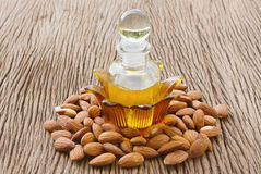Almond oil and almonds seed Royalty Free Stock Images