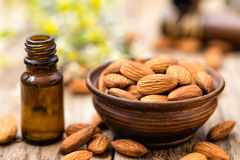 Almond and oil Stock Photo