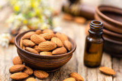 Almond and oil Stock Photography