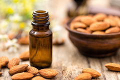 Almond and oil Stock Images