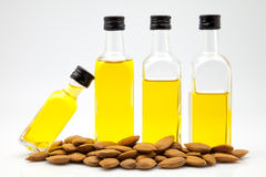 Almond oil bottles Royalty Free Stock Photography