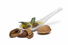 Almond oil in a spoon and almonds. A spoon full of almond oil and some almonds isolated on white background Royalty Free Stock Photography