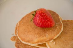 Almond Pancakes. Tastes good with strawberry on the top Royalty Free Stock Images