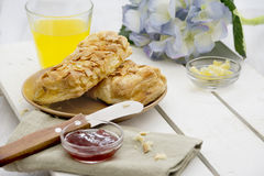 Almond pastries for breakfast Royalty Free Stock Photos