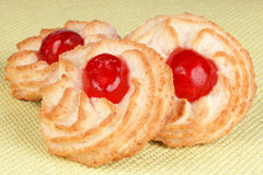 Almond pastries with cherries Royalty Free Stock Photography