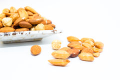 Almond peanut and Hazel nuts Stock Images