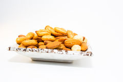 Almond peanut and Hazel nuts Royalty Free Stock Photos