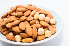 Almond peanut and Hazel nuts Royalty Free Stock Photography