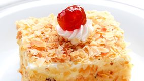 Almond cake with cherry royalty free stock images