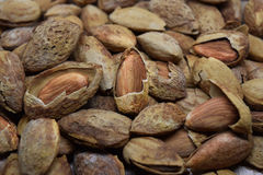 Almond. Pile of dry almond nuts spread out on wooden surface Royalty Free Stock Photo