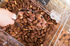 Almond pile shop Royalty Free Stock Photography