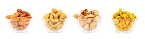 Almond, pistachio, corn chips and cashew nuts Stock Photography