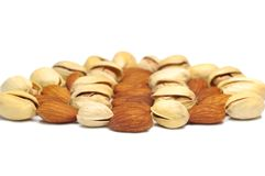 Almond and pistachio nut. Royalty Free Stock Photos