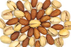 Almond and pistachio nut. Royalty Free Stock Photo