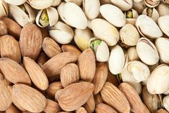 Almond and pistachios background Royalty Free Stock Photos