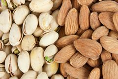 Almond and pistachios background 2 Royalty Free Stock Photo