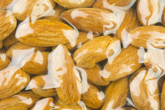 Almond in plastic bag Royalty Free Stock Photography