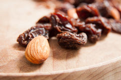 Almond and raisins Stock Images