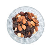 Almond raisins nuts bowl Royalty Free Stock Image