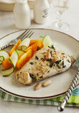 Almond roasted chicken and fresh vegetables Royalty Free Stock Photo
