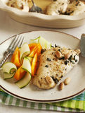 Almond roasted chicken and fresh vegetables Royalty Free Stock Image