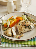 Almond roasted chicken and fresh vegetables Royalty Free Stock Images