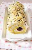 Almond roulade. With cottage cheese and cherry filling Royalty Free Stock Image
