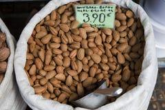 Almond. A sack of Greek almonds at Athens Market Stock Photos