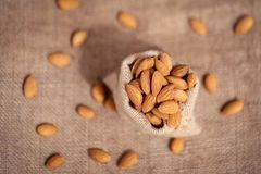 Almond In A Sack Top View royalty free stock image