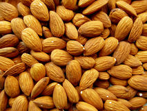 Almond. Scattered nuts peeled roasted almonds Stock Images