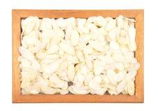 Almond slices in frame Stock Photos