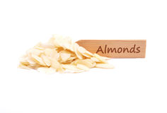 Almond slices on plate Stock Photography