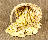 Almond Slices in Wicker Basket Royalty Free Stock Photography