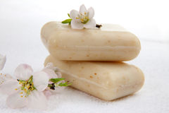 Almond soap spa set. Spa set - organic almond soap and almond flowers. best suited for relaxing and health commercials Royalty Free Stock Photos