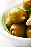 Almond stuffed green olives Royalty Free Stock Photos