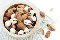 Almond on tablecloth. Stock Photography