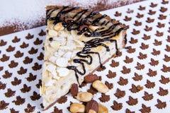 Almond tart cake. Close up view at piece of almond tart cake Royalty Free Stock Photos